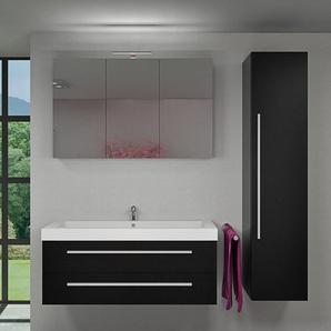Badmöbel Set City 101 V4 Esche schwarz, Badezimmermöbel, Waschtisch 120cm -14156- ohne Spiegelschrankbeleuchtung - ACQUAVAPORE