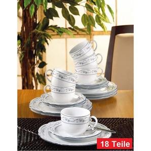 Seltmann Weiden Kaffeeservice 18-teilig DESIREE AALBORG Weiß/Blau mit Relief