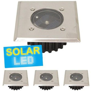 4er-Set LED Solar Bodenstrahler eckig,4er-Set