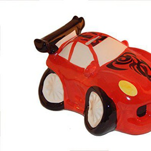 Spardose Auto aus Keramik Sportwagen Rot, Sparschwein