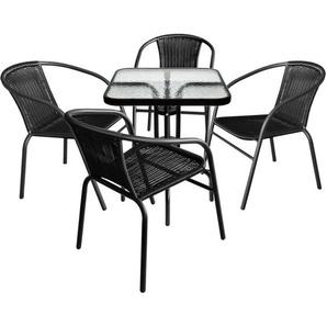 5tlg. Balkonmöbel Bistro Set - Glastisch 60x60cm mit geriffelter Glasplatte + 4x Polyrattan Bistrostuhl stapelbar - Schwarz - WOHAGA®