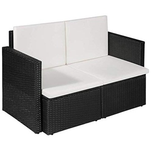 vidaXL Gartensofa 2-Sitzer Poly Rattan Lounge Gartenmöbel Sofa Gartenbank