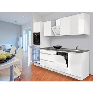 Respekta Küchenzeile GLRP280HWW Grifflos 280 cm Weiß Hochglanz
