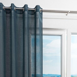 Ösenschal von LYSEL® Ebby einfarbig in den Maßen Breite: 140cm Höhe: 245cm in Blau/stahlblau