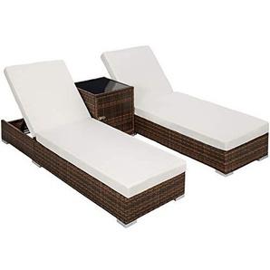 TecTake 2X Aluminium Polyrattan Sonnenliege + Tisch Gartenmöbel Set - inkl. 2 Bezugsets + Schutzhülle, Edelstahlschrauben - Diverse Farben - (Schwarz-Braun (Nr. 401499))