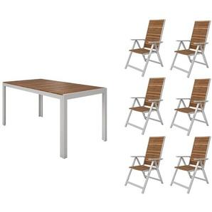 FLORABEST Gartenmöbel Set , Alu/Holz, 7-teilig, Klappsessel
