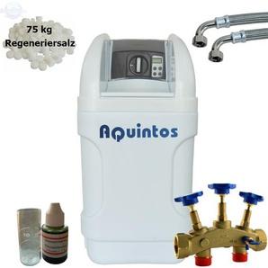 Wasserenthärter MKB 24 Eco-Line von Wasseraufbereitung | Entkalker mit Bypass-Funktion für 100% kalkfreies Wasser | Komplettset inkl. 75 kg Regeneriersalz - AQUINTOS-WASSERAUFBEREITUNG