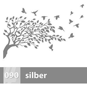 Premiumsticker24 Wandtattoo Baum mit Vögel | Schlafzimmer Wohnzimmer Kinderzimmer Aufkleber selbstklebend Wandaufkleber, 170cm x 115cm, 090 silber