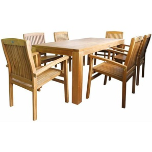 Teakholz Sitzgruppe Garnitur 7 tlg. Tisch 180 cm 6 x Sessel - LEX