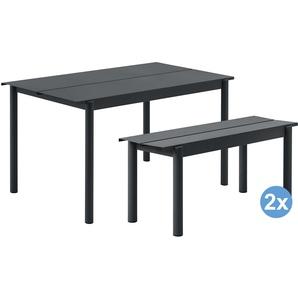 Muuto Linear Gartenset Tisch 140x80 + 2 Bänke