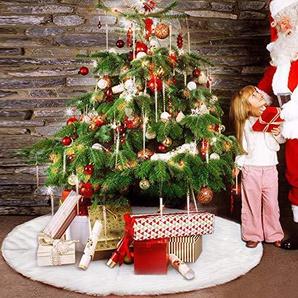 elfisheu Weihnachtsbaum Rock Weihnachtsdeko Weihnachtsbaumdecke Weiß Plüsch Baum Rock Dekoration für Weihnachten (122 cm)