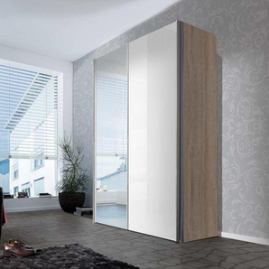 2-trg. Schwebetürenschrank in Sonoma-Eiche NB, 1 Tür in Lack weiß, 1 Spiegeltür, 2 Einlegeböden, 2 Kleiderstangen,Maße: B/H/T ca. 150/216/68 cm