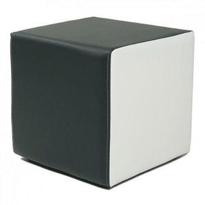 Design Sitzwürfel Kubus I Plus Kunstleder Hocker modern 45x45x45 cm weiss und schwarz