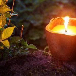 Outdoor-Kerze ,Teak ,Holz