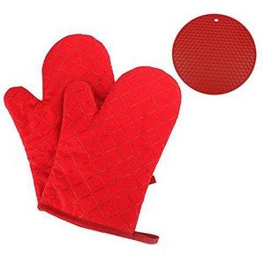 GoFriend - Ofen-Handschuhe, rutschfest, Küche, Backofen, Fäustlinge, hitzebeständige Koch-Handschuhe zum Grillen, Kochen, Backen, Grill-Topflappen, 1Paar mit Silikon, hitzebeständige Isolierung der Handfläche, Untersetzer