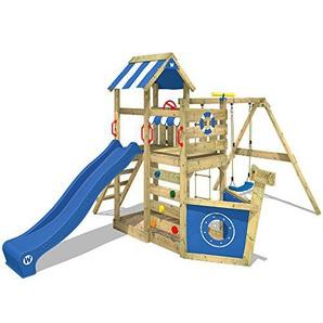 WICKEY Spielturm SeaFlyer Spielgerät Garten Kletterturm mit Schaukel, Rutsche und viel Zubehör, blaue Rutsche + blaue Plane