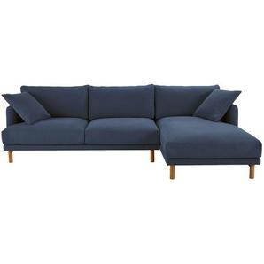 5-Sitzer-Ecksofa, Ecke rechts, Bezug aus Baumwolle und Leinen, marineblau Raoul
