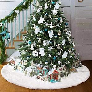 AMADE Weihnachtsbaum Röcke Plüsch Weihnachtsschmuck Kunstfell Weiß Plüsch XmasTree Rock für Weihnachtsdekoration Neujahr Party Urlaub Dekorationen Tannenbaum Decke(78cm dia)