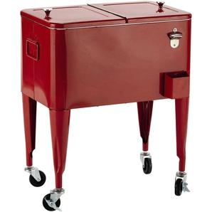 Vintage-Kühlbox auf Rollen FRESH aus Metall, H 77 cm, rot