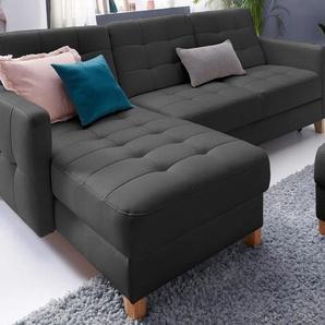 Exxpo - Sofa Fashion Polsterecke ohne Bettfunktion, schwarz, Recamiere links, B/H/T: 217x45x57cm, hoher Sitzkomfort