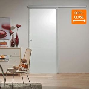 Tür Schiebetür Glas satiniert 755x2035 Zimmertür Glasschiebetür - Griffmuschel - inova Star