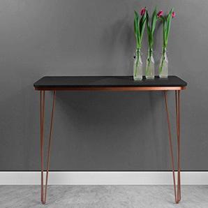 harnal Kupfer Konsole–Flur Tisch schwarz glänzend