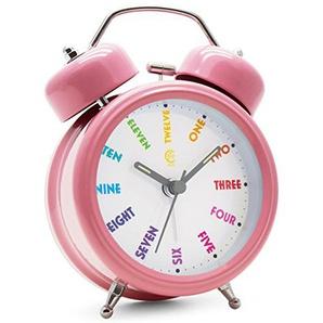 JCC Twin Bell Wecker, nicht tickend, mit Nachtlicht und lautem Alarm, 7,6 cm (3 Zoll), metall, Pink - Colorful Dial, 3 inch Clock Dial