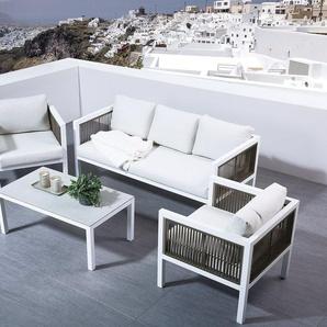 Lounge Set Rattan weiss 5-Sitzer BORELLO