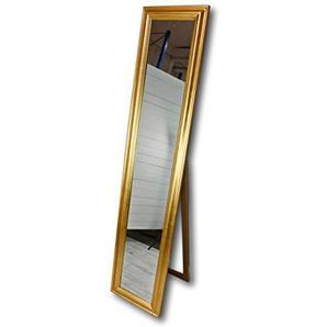 180x40cm Standspiegel groß antik mit Patina | Spiegel mit Fuß barock aus Holz | im Landhausstil als Badspiegel | Schminkspiegel bzw. Frisierspiegel für das Landhaus | Ankleidespiegel (Gold, 180 x 40 cm)