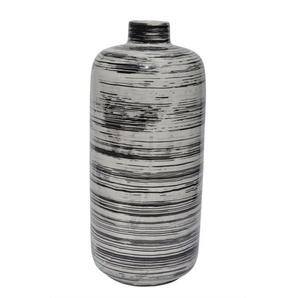 RATTERMANN Flaschenvase /Vase aus Keramik H 35 /Ø 15 WIPED Weiß/Schwarz gewischt