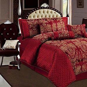 Sandra Wine Rot Tagesdecke geprägten Bettüberwurf, Bettdecke Ornamente Moderne 225x255 7tlg.
