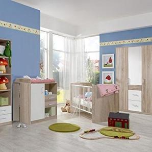 möbel-direkt Babyzimmer Nicki komplett Sets Verschiedene Ausführungen (Babyzimmer Nicki 5tlg. 3türiger Schrank, Eiche Sägerau/Weiß)