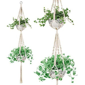 Dyna-Living 1 x Blumenampel Hängeampel,Makramee Doppel Pflanzen Aufhänger Indoor Outdoor 2 Tier Hanging Pflanzer Baumwolle Seil 4 Beine 67 Zoll