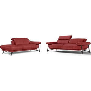Egoitaliano Polstergarnitur »Anais«, rot, hoher Sitzkomfort