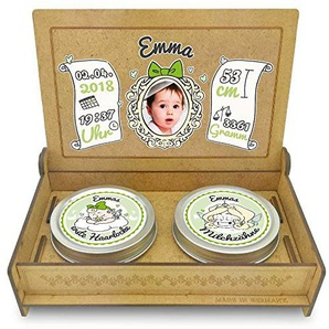 FANS & Friends Baby Erinnerungsbox Holz   Personalisiert mit Foto, Namen & Daten   Geschenk-Set erste Locke erster Zahn   Milchzahndose   erste Locke Set