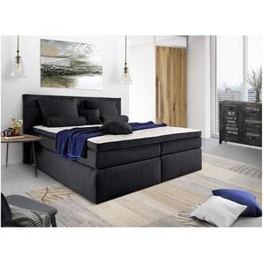JUSTyou Lansing Boxspringbett Continentalbett Amerikanisches Bett Doppelbett Ehebett Gästebett 140x200 cm Schwarz
