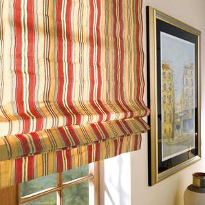 ili-Stoffe Faltrollo Striato - 1 Stück, 100 x 180 cm - Creme/Rot/Grün