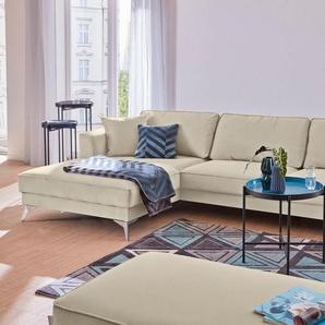 Guido Maria Kretschmer Home&Living Ecksofa »Juta«, modern, mit hochwertigen Metallfüßen, beige, Struktur