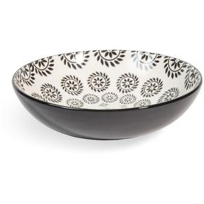 Suppenteller CHIANG MAI aus Steingut, D 20 cm, schwarz/ weiß