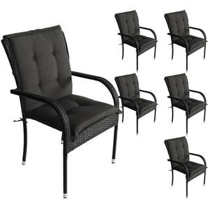 6er Set Komfort Sitzauflage Schwarz, 103x49x5cm, UV- & Wasserbeständig, Niedriglehner Sitzkissen, Outdoorkissen - WOHAGA®