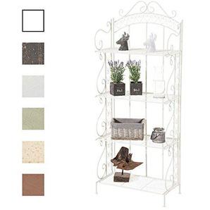 CLP Eisen-Standregal ANTJE I Klappregal mit 4 Ablagefächern im Landhausstil I In Verschiedenen Farben erhältlich Weiß
