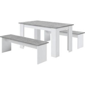 Sitzgruppe DORNUM bestehend aus einem Tisch und zwei Bänken, grau