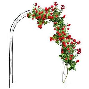 Relaxdays Rankbogen Rosen 233 x 153 x 39 cm HxBxT, Metall Rosenbogen, wetterfeste Rankhilfe mit Verzierung, dunkelgrün