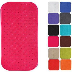 MSV Premium Duschmatte Badematte Badewannenmatte Badewanneneinlage antibakteriell rutschfest mit Saugnäpfen - Pink - duftet nach Rosen - ca. 36 x 76 cm - waschbar bei 60° Grad