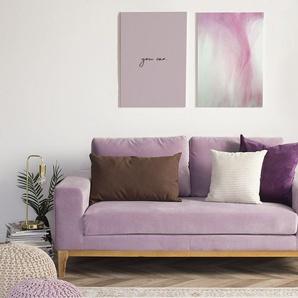 2-Sitzer Sofa Samtstoff rosa TIDAN