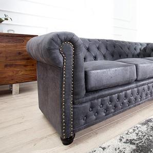 Chesterfield 3er Sofa 200cm antik grau mit Knopfheftung und Federkern