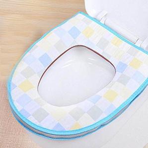 Dickere Klosettdeckels Toilettensitzabdeckung Klobrille Töpfchen WC Nien Taste Zipper Jacke Baumwollgaze Pad Töpfchen,Blue-OneSize