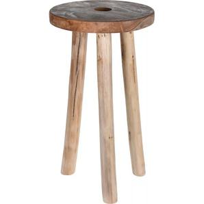 Hocker Teakholz Holz beige KOOPMANN I J11400090 (DH 20x36 cm)