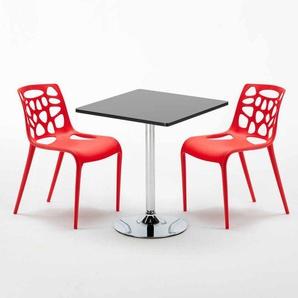 Schwarz Quadratisch Tisch und 2 Stühle Farbiges Polypropylen-Innenmastenset GELATERIA MOJITO | Rot - AHD AMAZING HOME DESIGN