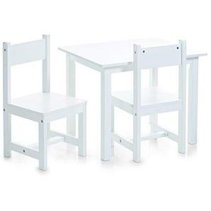 Zeller 13450 Kinder Sitzgarnitur, MDF, mit Dekorstickern, 3-tlg., Tisch: ca. 59 x 47 x 45, Stuhl: ca. 28 x 28 x 53 cm, weiß